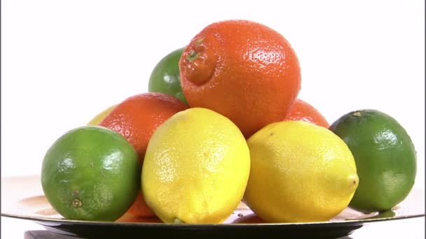 Assorted citrus fruits on a spinning plate