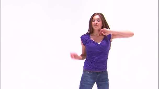 Dancing girl in a purple shirt.