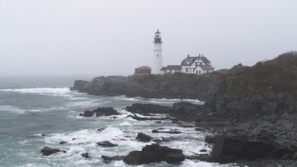 Portland Head Light station in the rain in Maine.