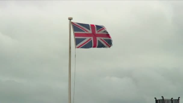 United Kingdom flag waving in the wind.