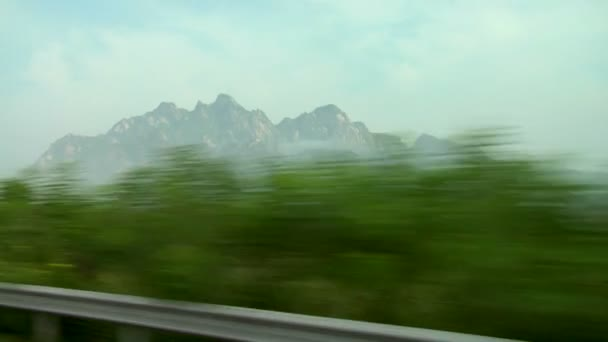 Mountain landscape from highway in China.