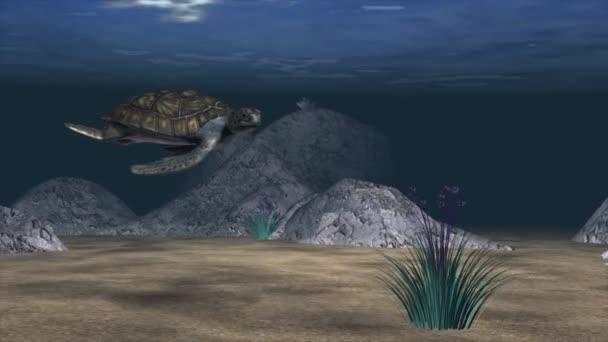 Una scena acquatica con pesce e una tartaruga di mare
