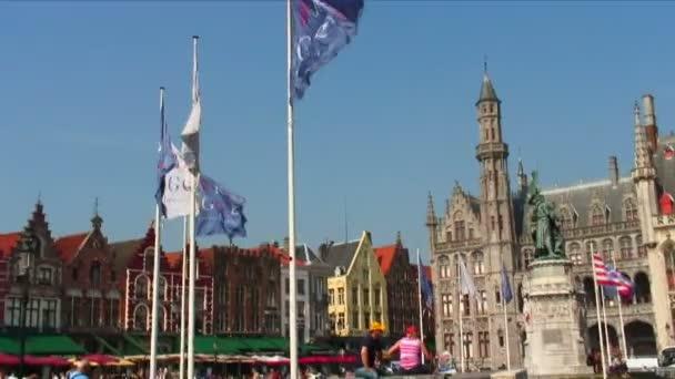 Statue in Market Square in Bruges, Belgium.
