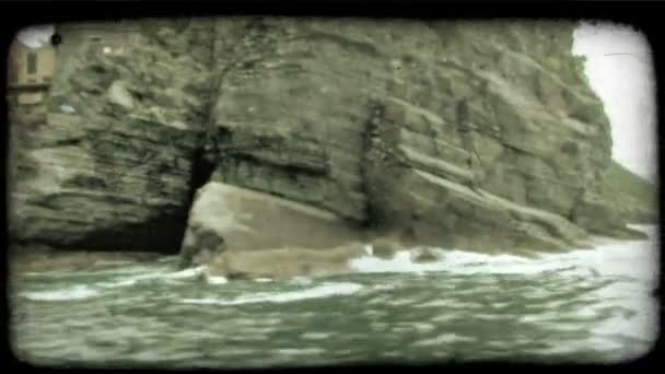 Rocky Beach. Vintage stylized video clip.