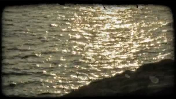 Ocean Sunset. Vintage stylized video clip.