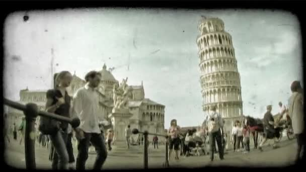 Tower of Pisa. Vintage stylized video clip.