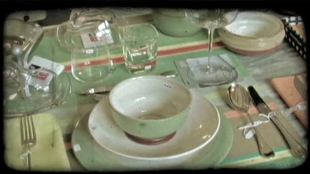 Served table. Vintage stylized video clip.