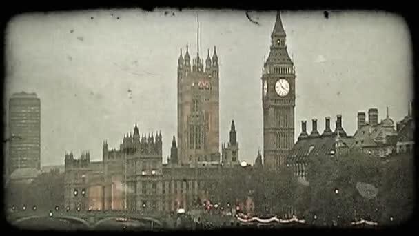 Thames River. Vintage stylized video clip.