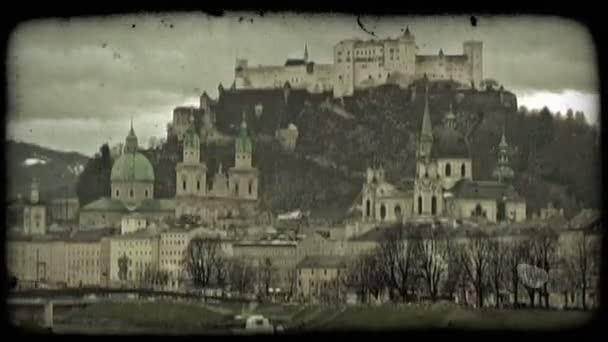 Staré město Salzburg. Vintage stylizované videoklip