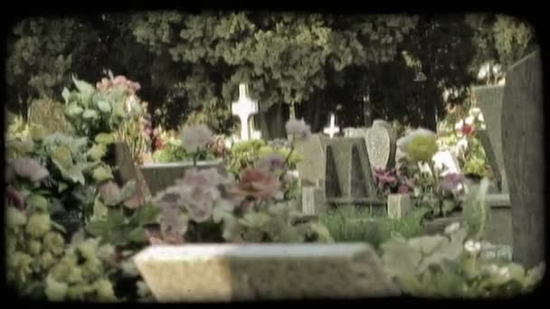 Italian Cemetery. Vintage stylized video clip.