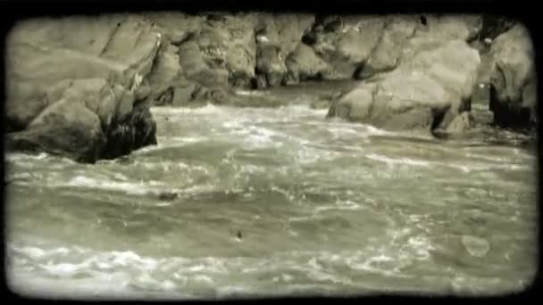 Rocky Coast. Vintage stylized video clip.
