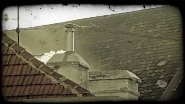 Smoking chimney. Vintage stylized video clip.
