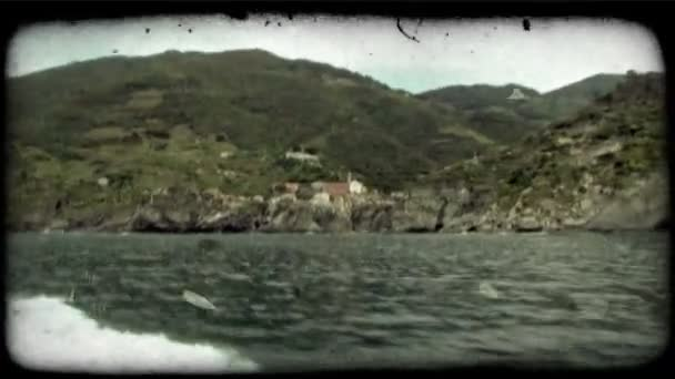 Boat Leaving. Vintage stylized video clip.