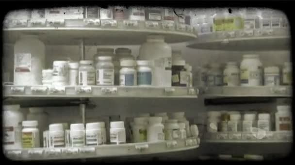 Pharmacy medications. Vintage stylized video clip.