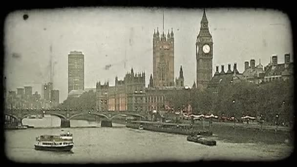 Boats on Thames. Vintage stylized video clip.