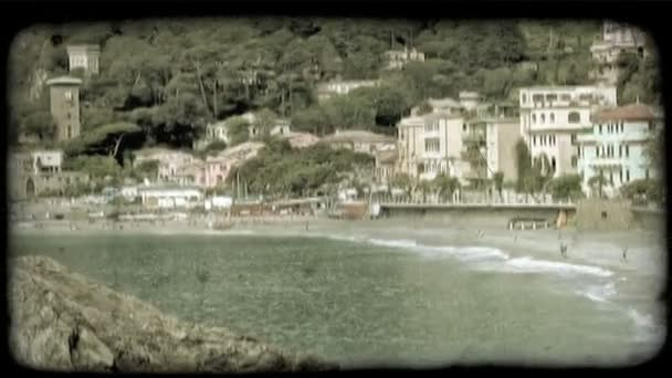 Italy Beach Town . Vintage stylized video clip.