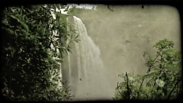 Hawaiian waterfall. Vintage stylized video clip.