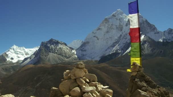 buddhistické modlitební vlají ve větru