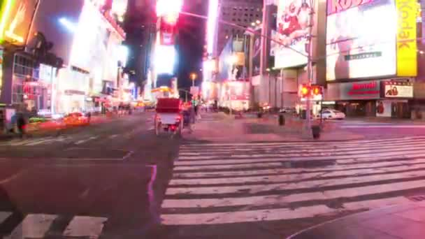 Panning shot of Time lapse of Times Square at night