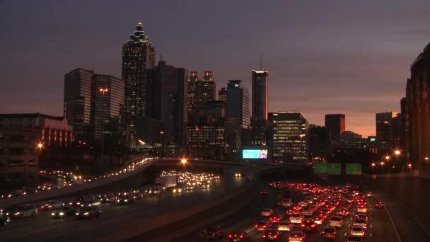 Atlanta Skyline With Traffic Below Stock Footage