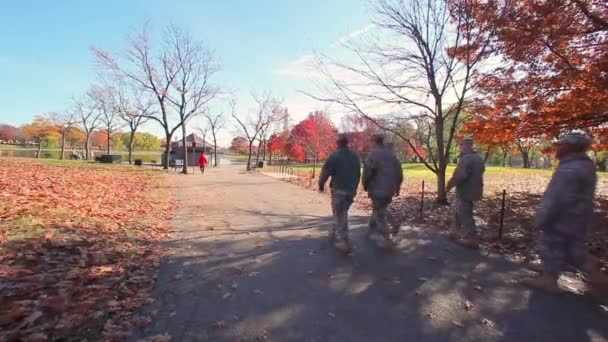 soldiers marching in a park in Washington