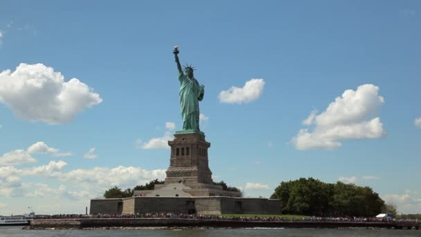 View of the Statue of Liberty while floating the Hudson River by ferry.