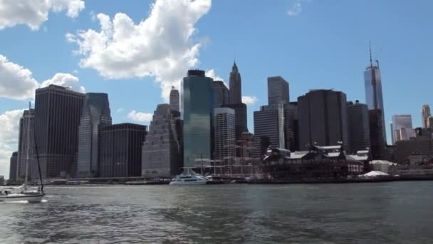 View of the New York City Skyline while floating the East River by ferry.