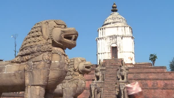 Stone dragons at a temple complex in Nepal.
