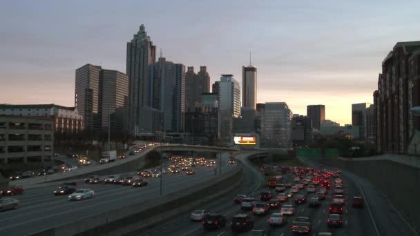 Atlanta Skyline With Traffic Below Stock