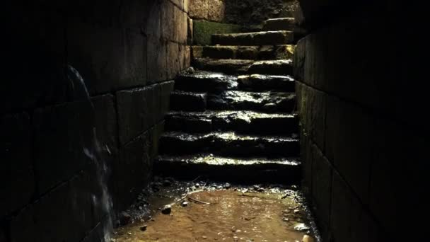 ancient tunnel filling with water in Israel