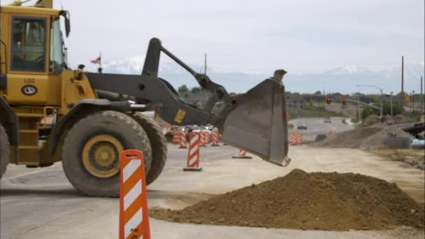 Bulldozer auf einer Baustelle.
