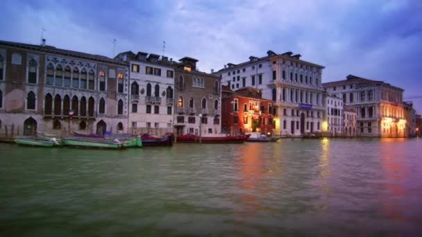 Tracking shot of majestic buildings on the Gran Canal