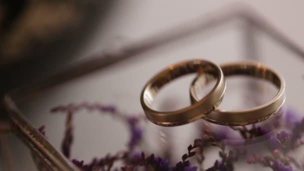 Zblízka zlatých snubních prstenů na pozadí fialové květy