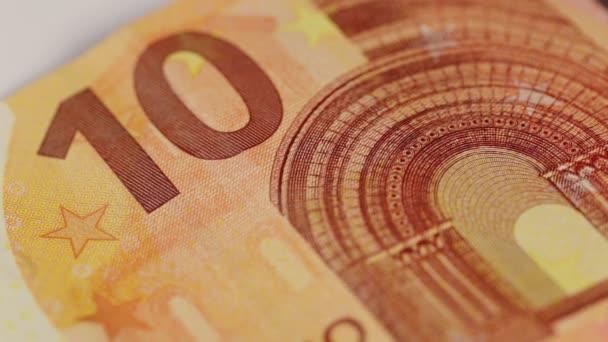 Tíz Euro-bankjegy egy makro lövés.