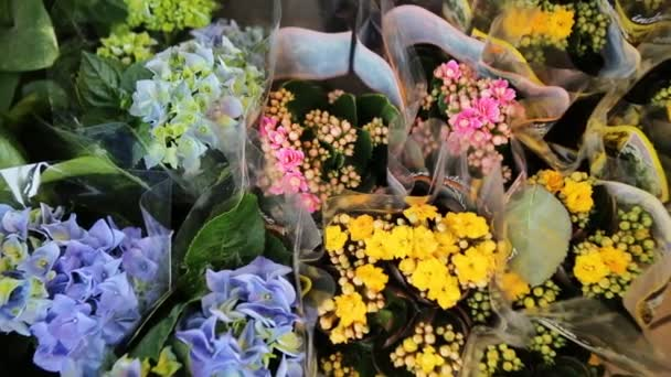Bouquets of yellow, purple and blue flowers.