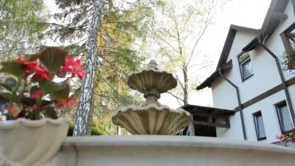 Fuente Pequeño Patio Decorado Con Flores Rojas En Un Jardín Junto A La Terraza Exterior Del Restaurante De Lujo Primer Plano