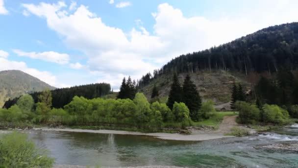 Toku horské řeky v skalnaté břehy pokryté zelení, hory krásné letní krajina