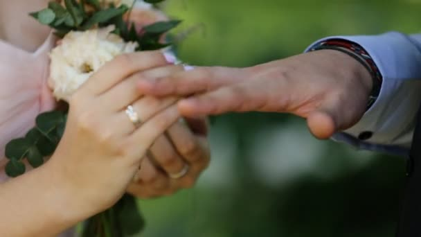 Bride Putting Wedding Ring On Grooms Finger Young Couple At Wedding