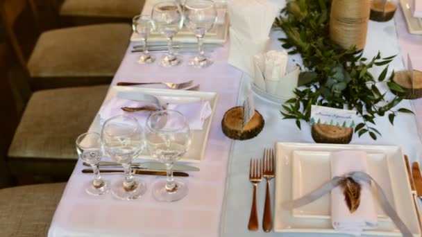 Table setting for a wedding reception or an event u2014 Stock Video & Table setting for a wedding reception or an event u2014 Stock Video ...