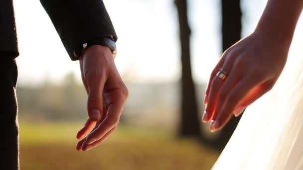Esküvői pár tartja kezében a Sunset háttér lassú lövés közelről
