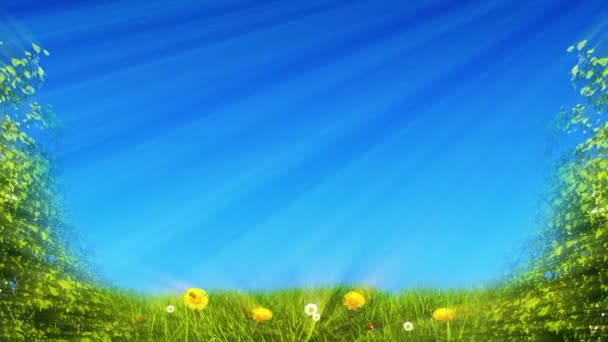 video clip composition shows a lush green and blue springtime scenery with grass leaves and flowers