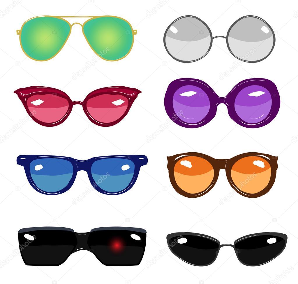colección de gafas de moda retro colorido vector — Vector de stock ... 312b9eafc676