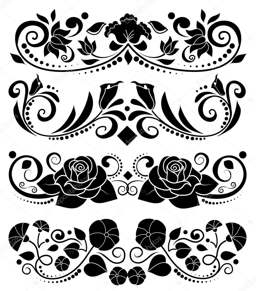 Isolated Vector Floral Elements Rose Lotus Lily Flower