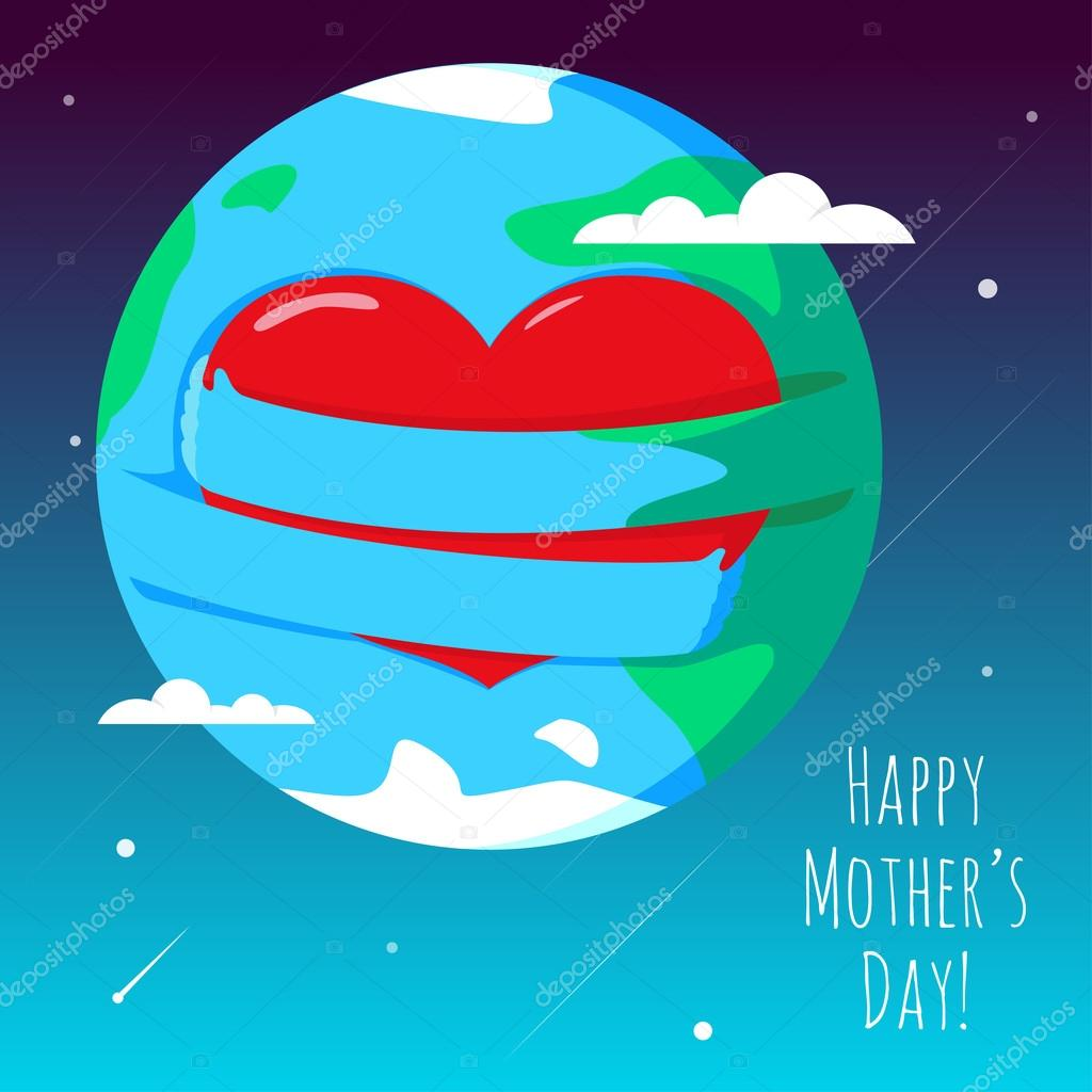 Romantic and love illustration of the globe with his hands, that hugs heart. Greeting Card for Happy Mother's Day.