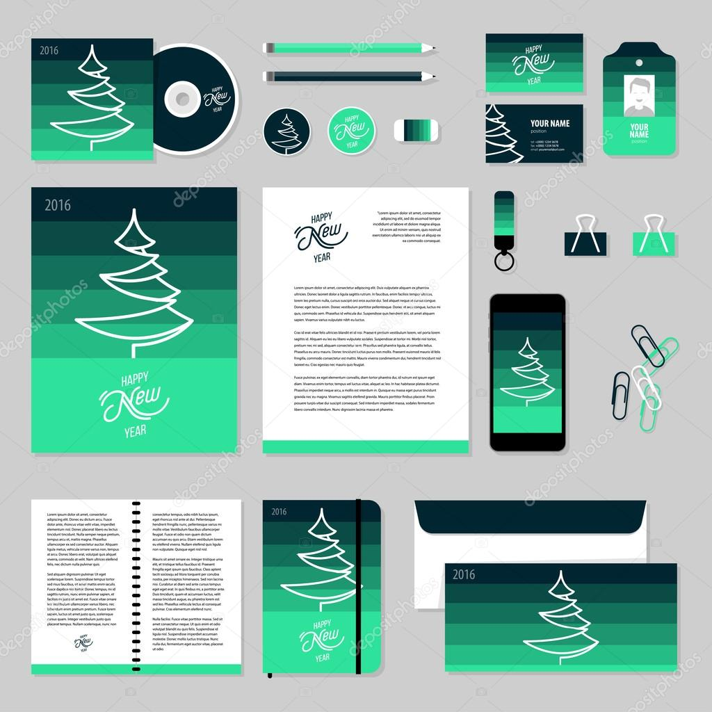 vector stationery template design with christmas tree 2016 new year elements documentation for business vector by denis_lubenets