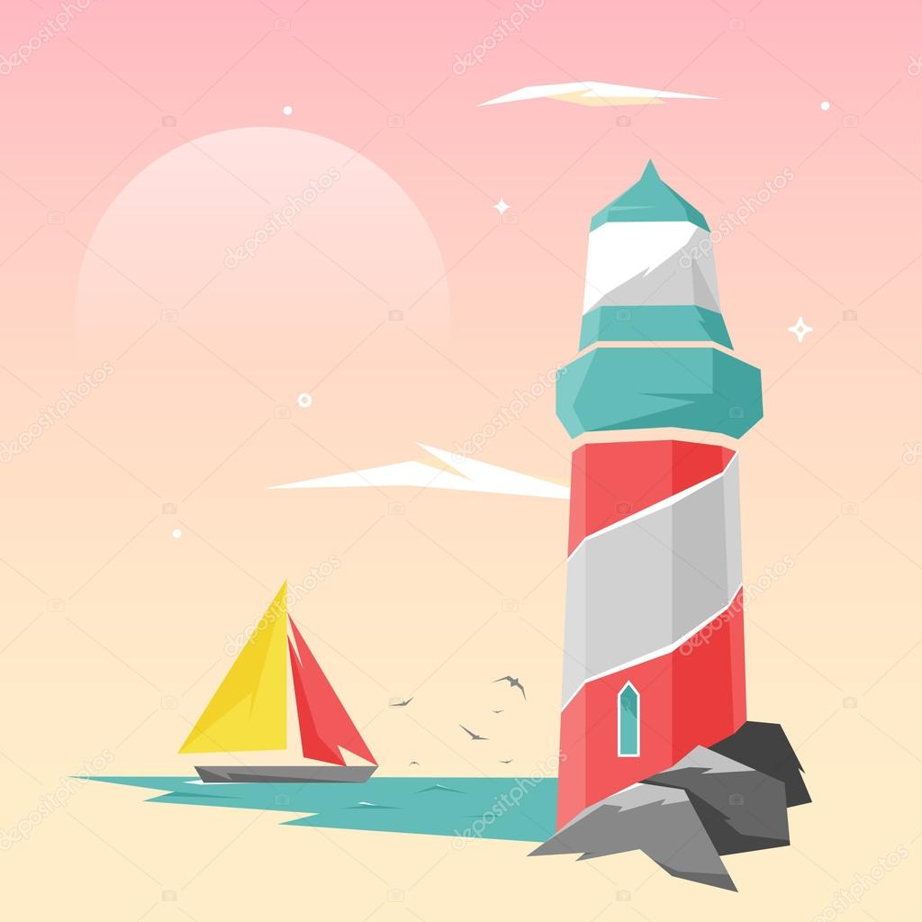 Design Illustration Concepts Lighthouse on the Coast at Sunset with Style Typography. Vector Illustration. Concepts Web Banner and Printed Materials. Trendy and Beautiful. Gradient Background.