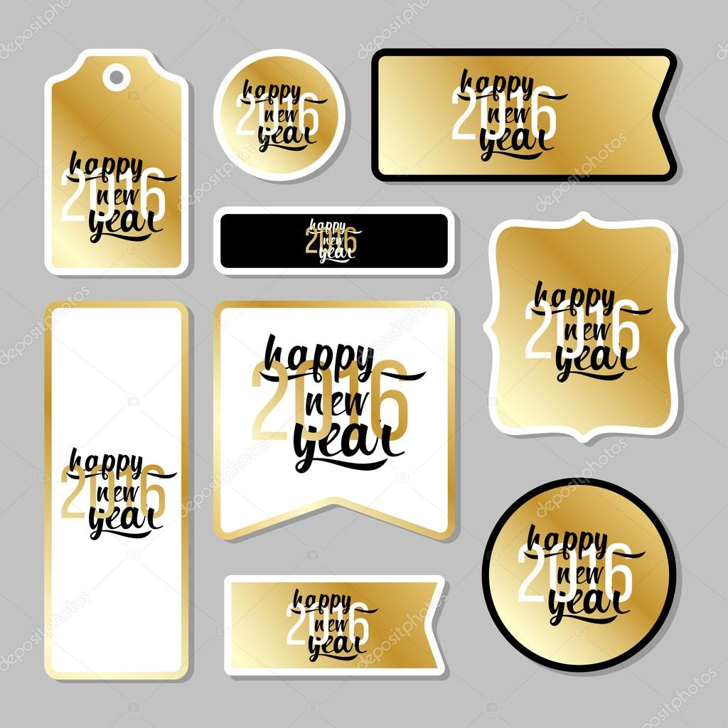 collection of new year 2016 cards notes stickers labels tags