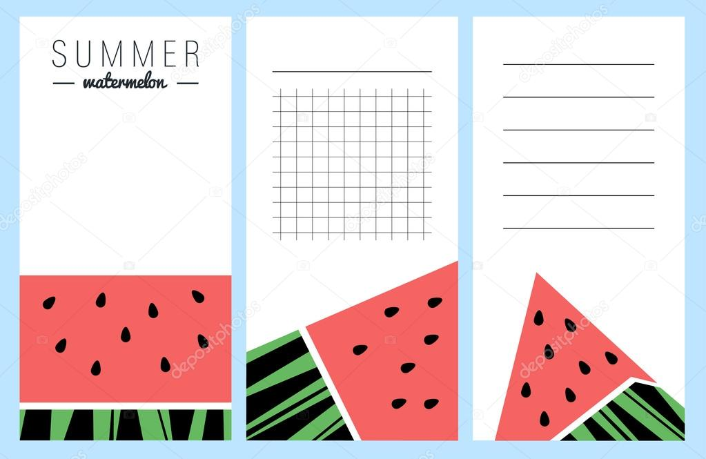 Collection of summer watermelon cards, notes, stickers, labels, tags