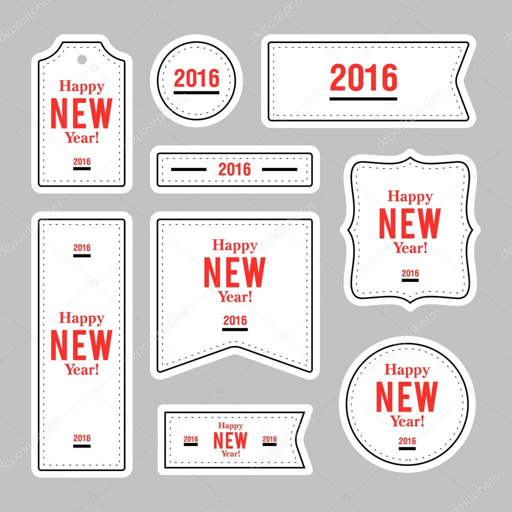 collection of new year 2016 notes stickers labels tags with cute