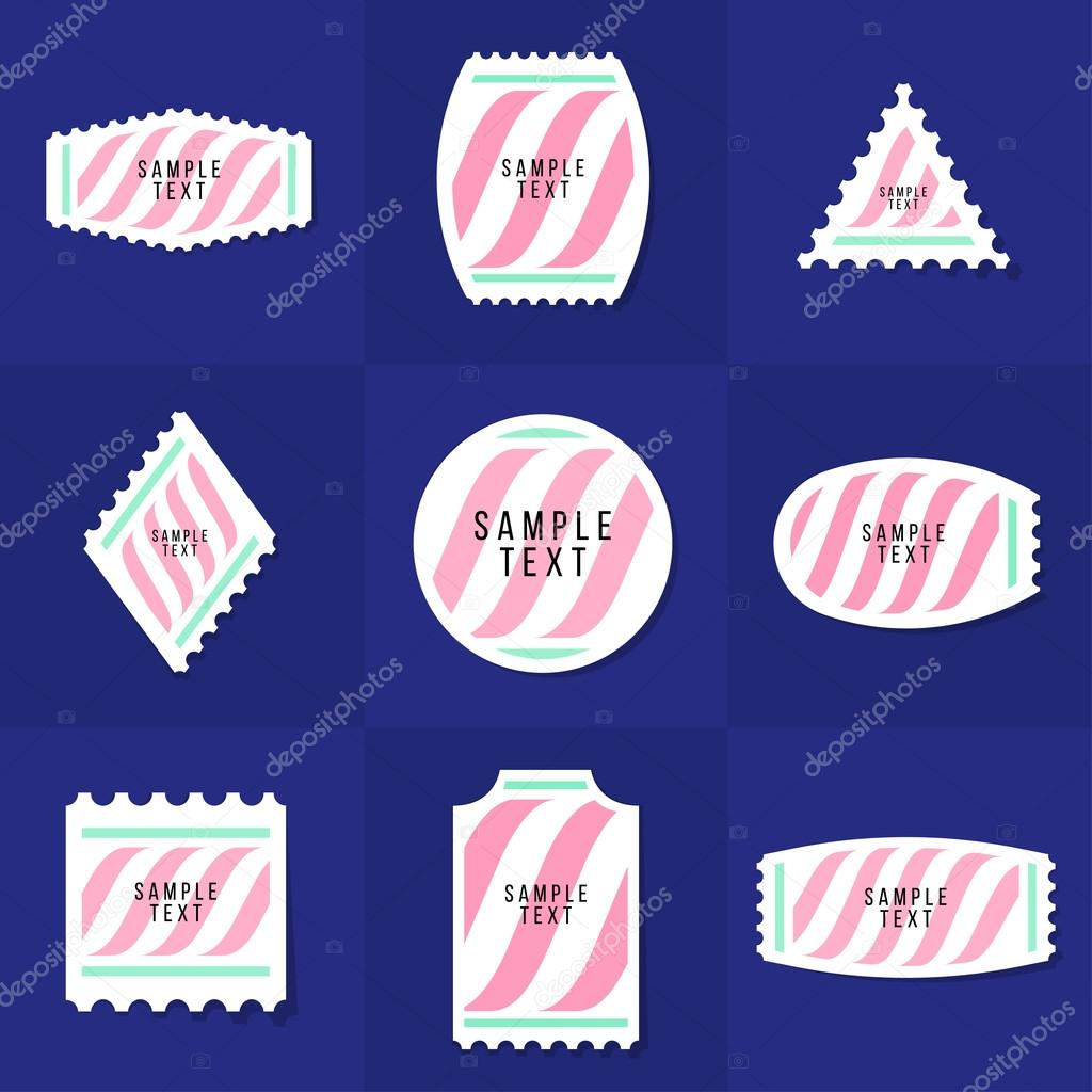 collection of sample logo and text postage stamp cards notes